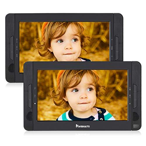10 Zoll DVD Player Auto 2 Monitore Tragbarer DVD Player Kopfstütze Auto Fernseher 2 Bildschirme Kopfstützenmonitor 5 Stunden Akku 1023
