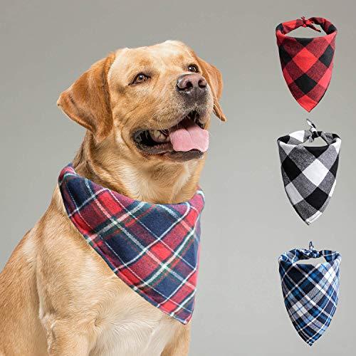 Ukadou Dog Bandanas for Dogs - 4 Pack, Dog Plaid Bandana Kerchief Scarf Set, Buffalo Plaid Cotton Dog Bandanas Accessories for Small Medium Dogs Review