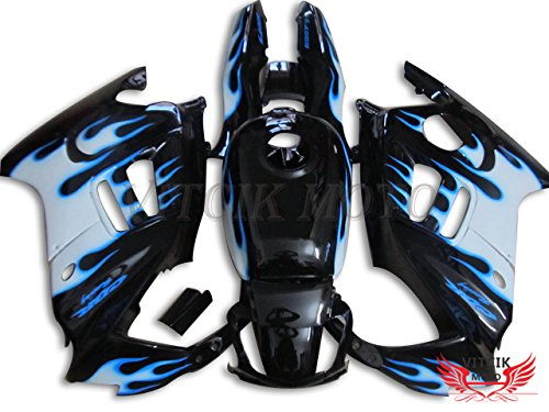 VITCIK (Fairing Kits Fit for Honda CBR600F3 CBR600F 1997 1998 CBR 600 F3 97 98 Plastic ABS Injection Mold Complete Motorcycle Body Aftermarket Bodywork Frame (Black & Blue) A029