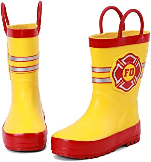 Kids Waterproof Rubber Rain Boots for Girls, Boys & Toddlers with Fun Prints & Handles