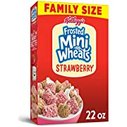 Frosted Mini-Wheats Kellogg's, Breakfast Cereal, Strawberry, Excellent Source of Fiber, Family Pack, 22 Ounce Box