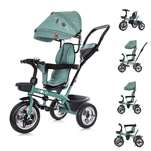 Chipolino Tricycle Polo Dreirad 3 in 1 Sitz drehbar Schubstange Sonnendach, Farbe:grün
