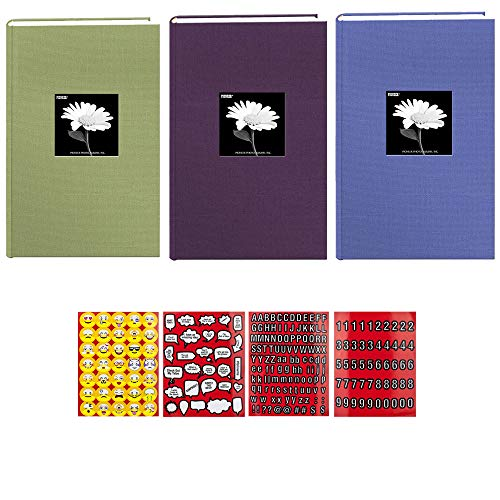 Pioneer Set of 3 Colors Fabric Frame Cover Photo Albums 300 Pockets Hold 4x6 Photos + Stickers 4 Pages of Emojis, Quotes, Letters & Numbers