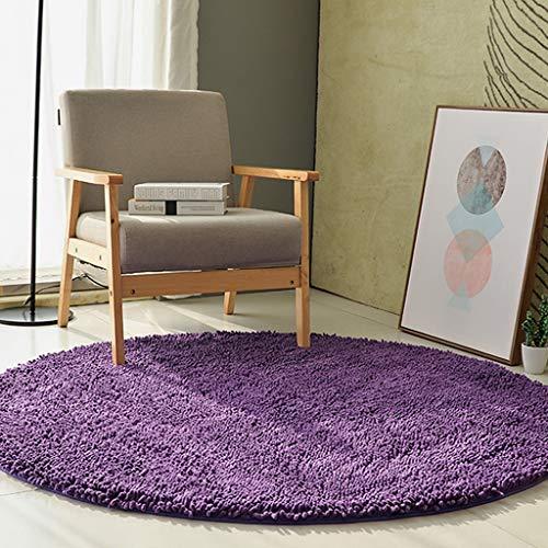 Meubels, tapijt, woonkamer, slaapkamer, entree, tapijt, loper met rubberen rug, anti-slip tapijt, loper, tapijt, rond, super zachte flanel, voor thuis, blauw paars, 100 × 100 Clearanc