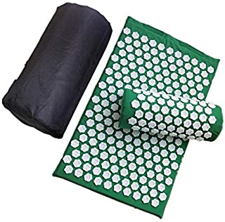 Gaoominy Acupressure Mat Acupressure Pillow Set Relieves Back Pain Neck Pain Muscle Relaxation with Carrying Bag Green zghzsc