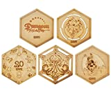 DND Decorative Wood Coasters Cool & Unique Table Mug Cup Mats Laser Engraved with Dragon, D20 and Cthulhu (Set of 5)