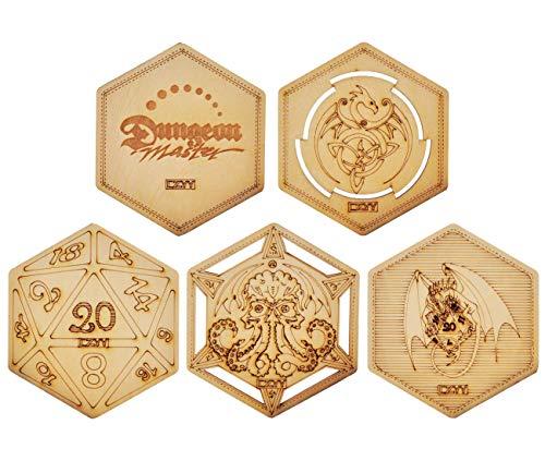 DND Dekorative Holzuntersetzer Cool & Einzigartige Tischbecher Tassen Matten Laser Gravur mit Drache, D20 und Cthulhu (Set von 5)