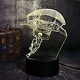 2019 New Battle Royale Game Parachute in-Game Character Table Lamp 3D LED 7