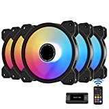 EZDIY-FAB 120mm Computer Case Fan,Motherboard Aura Sync Fan,High Airflow,Speed Adjustable,Addressable RGB Fan for 10-Port Fan Hub and Remote-5 Pack