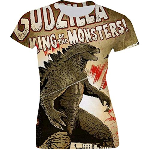 Womens Godzilla King of Monsters Poster Casual T-Shirt Short Sleeve 3D Print Tees White