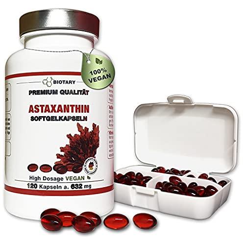 BIOTARY Astaxanthin 12mg, 120 Softgel Kapseln, mit Vitamin E, inclusive Pillenbox, 8 Monatsvorrat, hohe Bioverfügbarkeit, Haematococcus Pluvialis, Super-Antioxidans