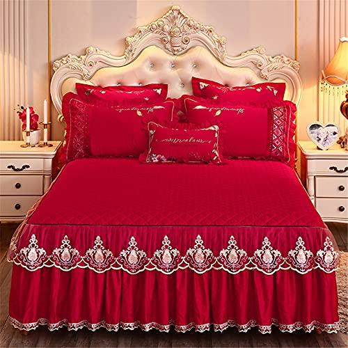 DOILE Bett Rock Volant Mit Rüschen Tencel Modal Gesteppte Spitze Bett Rock Elastische Tagesdecke Bettschürze Bettdecke Waschbar (Rot,180 * 200cm)