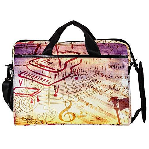 TIZORAX Laptop-Umhängetasche, Musiknoten, Klavier, Computer, Notebook, Tragetasche, 38,1 - 39,1 cm