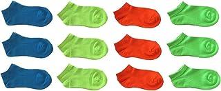 12 pares de calcetines cortos para niño o niño de algodón neón – Modelo de verano fantasma (altura del tobillo)