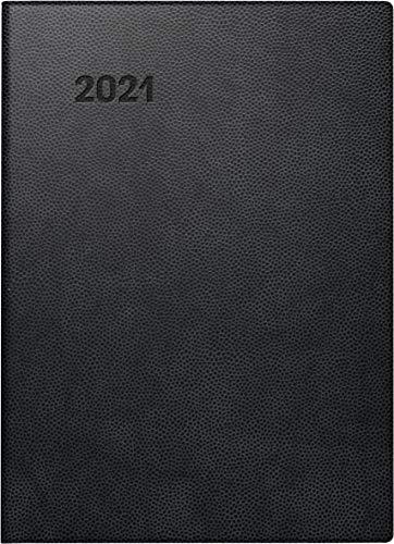 Brunnen 1073111901 Taschenkalender Modell 731 11, 2 Seiten = 1 Woche, 10 x 14 cm, Kunststoff-Einband schwarz, Kalendarium 2021