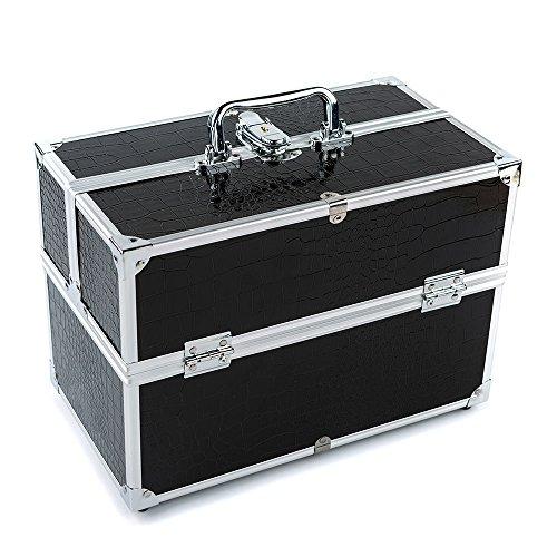 Blusea Grote cosmetica-organizer box wedstrijdbaar make-up gereedschap afsluitbaar zwart met opbergdoos