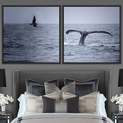 "bestdeal depot Whale 2 Panels Framed Canvas Wall Art Prints for Living Room,Bedroom Framed Artwork Decoration Ready to Hang - 16""x16""x2 Panels"