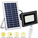 SEMILITS Solar Flood Lights Outdoor Waterproof Solar Billboard Light Dusk to Dawn 60 LED Security Lights with Remote for Backyard Gazebo Pool Cold White