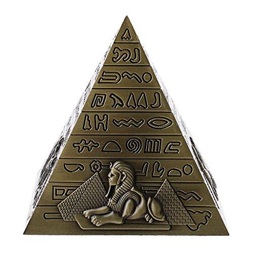 Fenteer Pirámide Egipcia Estatua Adorno Muebles para El Hogar Dormitorio Estantería Decoración - Bronce, 10 x 10cm