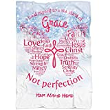 Personalized Name Faith Blanket, for God so Loved The World Throw Blanket, Jesus Blanket, Christ Blanket, Christian Throw Blanket, Merry Christmas Throw Gift for mom, Custom Name from Your Names