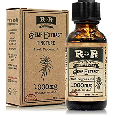 Hemp Oil 1000mg :: Hemp Oil for Pain :: Stress Relief, Mood Support, Healthy Sleep Patterns, Skin Care (1000mg, 33mg per Serving x 30 Servings) : R+R Medicinals from R+R Medicinals