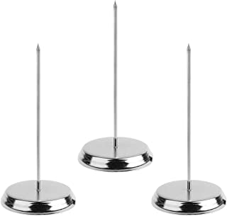 Socell 3pcs Silver Color Desk Straight Rod Paper Holder Spike Stick Receipts Check Bill Fork/Paper Spike/Message Holder Spike/Receipt Holder Stick Spike/Restaurant Paper Receipt Spike