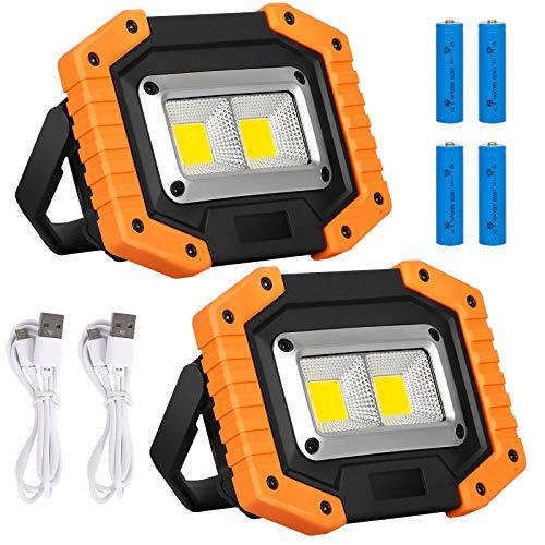 Paquete de 2 Foco LED Portátil Recargables 30W 2000lm Luces de Trabajo Luces COB para Exteriores 3 Modos IP65 Luz de Seguridad (Batería Incluida,amarillo)