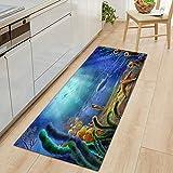 OPLJ 3D Underwater World Küchenmatte Eingang Fußmatte Schlafzimmer Bodendekoration Wohnzimmer Teppich rutschfeste Fußmatte A7 40x120cm