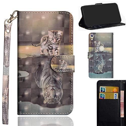Ooboom Alcatel Shine lite 5080X Hülle 3D Flip PU Leder Schutzhülle Handy Tasche Case Cover Ständer mit Trageschlaufe Magnetverschluss für Alcatel Shine lite 5080X - Katze Tiger