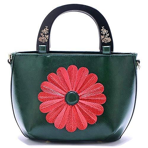 HYLV Flower tas, satijnen brood, gesneden zachte leren tas, zoete zonnebloem handtas, schoudertas, groen, A