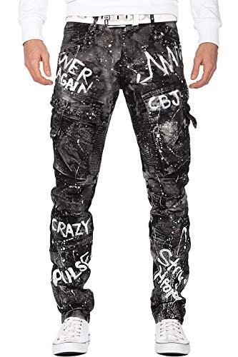 Cipo & Baxx Herren Jeans CD572-bans Schwarz W30/L32