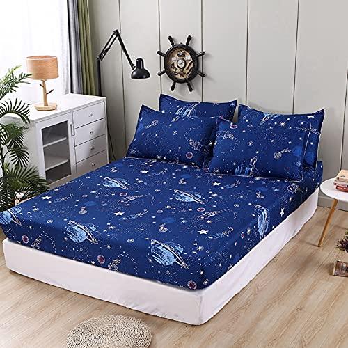 Sábana bajera de poliéster para cama de matrimonio, impermeable y antiarrugas, 4 estaciones, apta para camas de niños y para adultos (8,150 x 200 cm)