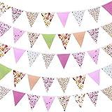 Banderines de tela de 42 pcs con diseño floral vintage reutilizable triángulo bandera guirnalda decoración banderines para bodas,fiestas de cumpleaños(rosa)