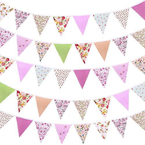 Banderines de tela de 42 pcs con diseño floral vintage reutilizable triángulo...