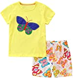 Bumeex Toddler Girls Summer Outfit Cotton Yellow Top and Shorts Clothing Set 3t