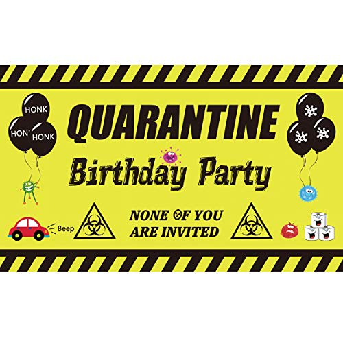 Ushinemi Quarantine Birthday Party Decorations Yard Sign, Happy Birthday Banner Backdrop Decorations, Funny Birthday Party Decor for Outdoor Outside, 6X3.6Ft