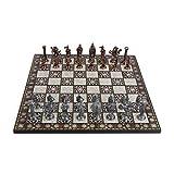 GiftHome Royal Medieval British Army - Juego de ajedrez de cobre antiguo para adultos, piezas hechas a mano y diseño de mosaico, tablero de ajedrez de madera, tamaño King 3,35 cm