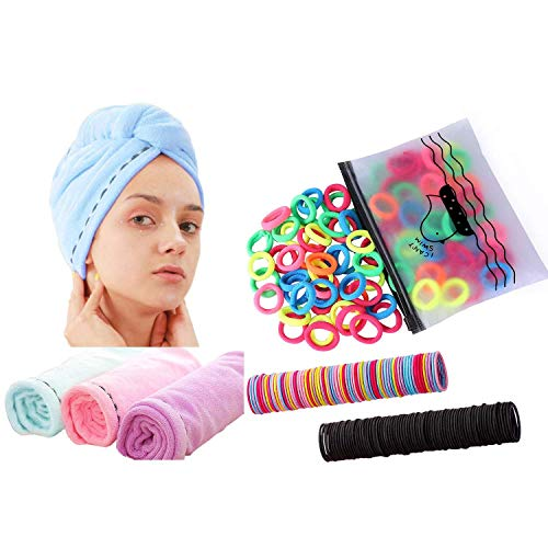 3 Pack Microfiber Hair Towel Wrap Super Absorbent Twist Turban Fast Drying Hair Caps+ 300 Pack Hair Ties BEoffer Baby Toddlers Girls Elastics Hair Bands Black Colorful Small Rubber Bands
