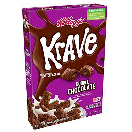 Kellogg's Krave Breakfast Cereal, Double Chocolate, Good Source of Fiber, 11 oz...