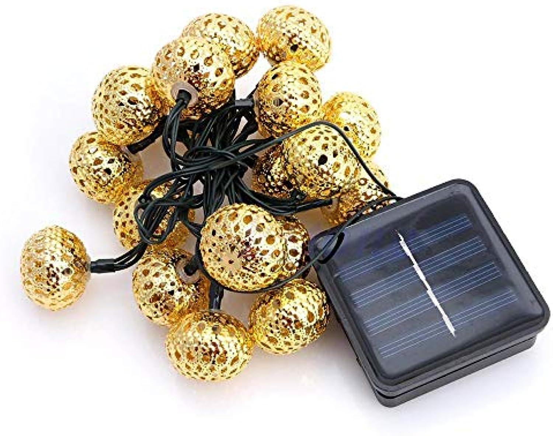 Nuobaby Rasenlicht Gartenleuchten Outdoor Gartenstrahler Mit 20 Metall Hohle Kugelfrmige Solarlichterkette