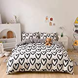 Cottonight Love Hearts Comforter Set Queen Black and White Comforter Set Full Graffiti Black Heart Shaped Bedding Cotton Blanket Quilts Cute Lovely Soft Breathable Comforter Set for Kids Adults