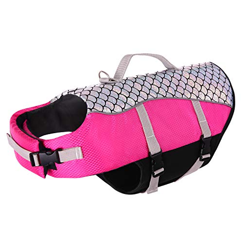 Queenmore Dog Life Jacket High Floatation Pet Life Vest Refelective Cute Fish Scale for Swimming, Boating, Canoeing for Small Medium Dogs Pink, M