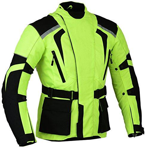 Grüne Motorradjacke, hochsichtbar, wasserdicht und reflektierend, grün
