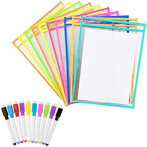 Preisvergleich Produktbild Ein Satz von 10 löschbaren A4-Plastikmappen,  trocken abwischbarem Markierungspapier, folienstift abwischbar, löschbarem Stift, geeignet für Kinder, Schüler, Lehrer