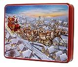 Bramble Foods - Papá Noel en trineo de metal en relieve decorado con una variedad de galletas inglesas - 1 x 600 gramos