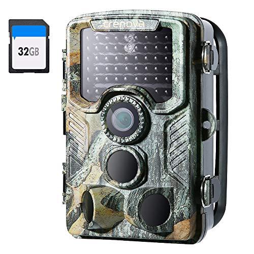 Crenova 4K 20 MP Wildkamera mit 32 GB SD-Karte 47pcs-940nm-IR-LEDs für 20m Nachtsicht und IP66 wasserdichtes Material Jägerkamera Spurkamera Diebstahlschutz