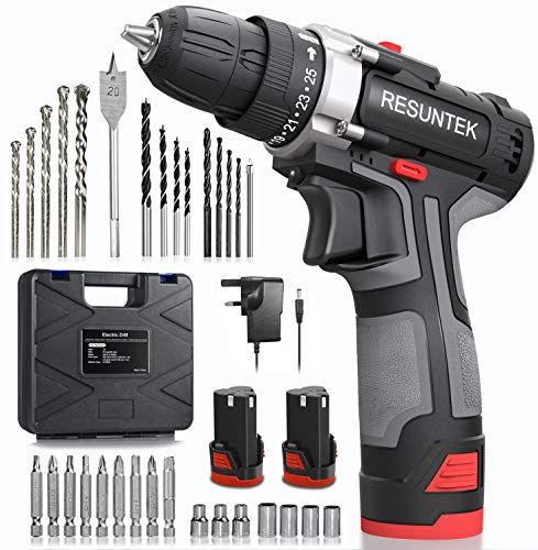 Cordless Drill Driver Set with 2 Batteries, Resuntek Electric Screwdriver Set 31Pcs (28Nm Max Torque, 2-Speed, 25+1 Torque Setting, 10mm Automatic Chuck, LED Light) for Home DIY Project