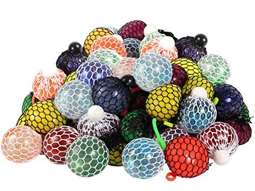 Alsino Quetschball im Netz Anti Stress Ball 6 Stück Quetschbälle im Netz für Kinder und Erwachsene