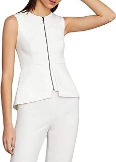 BCBG Max Azria Abrielle Women's Peplum Sleeveless Zip Top White Size XXS