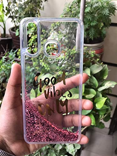 Sunny Fashion Good Vibes Only Designer Quicksand Moving Liquid Floating Waterfall Girls Soft Tpu Mobile Back Cover For Xiaomi Redmi Note 7 / Note 7 Pro (Running Glitter Sparkle Pink) - Pink